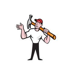 Carpenter Builder Hammer Cartoon vector image vector image