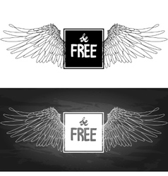 Concept art with slogan and wings vector image vector image