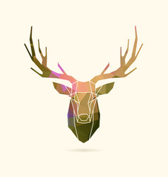 Deer frame portrait color poly vector