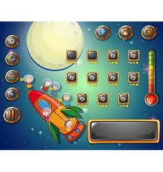Game template with space theme vector image vector image