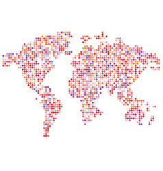 Isolated pink color worldmap of dots on white vector