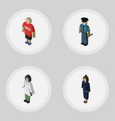 isometric human set of doctor businesswoman vector image