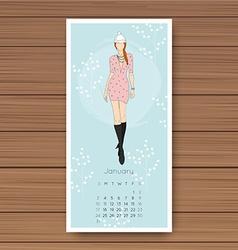 January hand drawn fashion models calendar 2016 vector