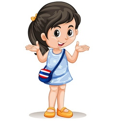 Little asian girl with handbag vector
