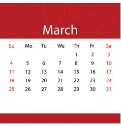March 2018 calendar popular red premium for vector