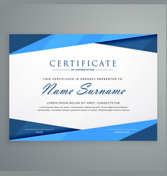 Modern blue triangle certificate template vector