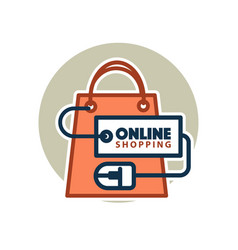 online shopping web icon of bag and vector image vector image