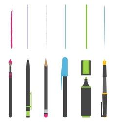 Pen pencil marker brush vector image