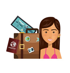 Person with travel suitcase vector