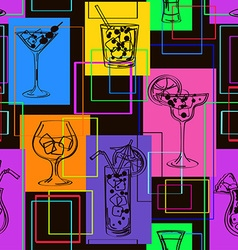 Seamless pattern of cocktails vector