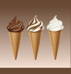 set of chocolate white ice cream waffle cone vector image vector image