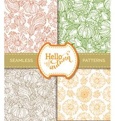 Set of seamless pumpkin patterns vector