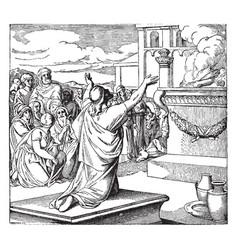 Solomon dedicates the temple vintage vector