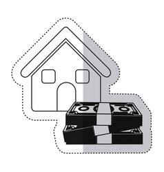 Sticker monochrome contour house with many dollars vector