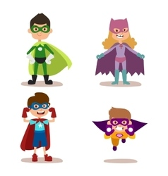 Superhero kids boys and girls cartoon vector