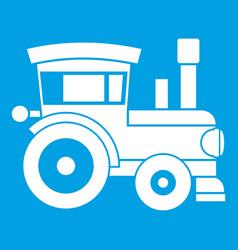 Toy train icon white vector
