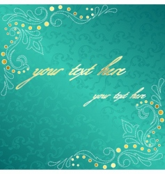 turquoise frame with delicate swirls vector image vector image