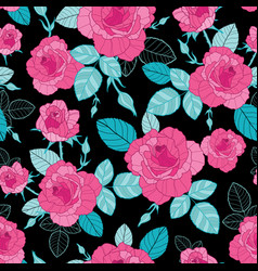 Vintage pink roses and blue leaves on black vector