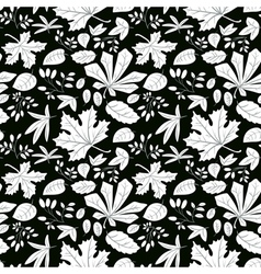 White plants on black background vector image vector image