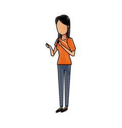 young woman standing cartoon image vector image vector image