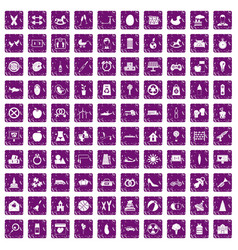 100 maternity leave icons set grunge purple vector