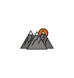 Hunting icon mountains vector