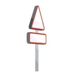 Triangular road sign icon cartoon style vector