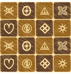 Seamless pattern with adinkra symbols vector