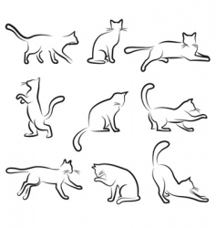 Cat drawing set vector