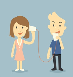 Talking with cup telephone valentine day concept vector