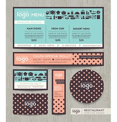 Restaurant cafe menu template polka dot pattern vector