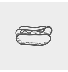 Hotdog sandwich sketch icon vector