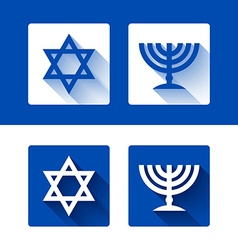 Star of david and menorah icons vector