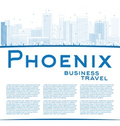 Outline phoenix skyline with blue buildings vector