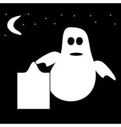 Funny ghost halloween night tombstone cemetery vector