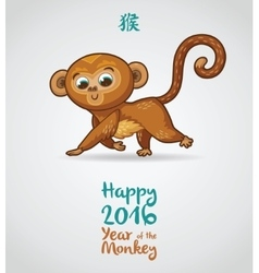 New year greeting card with red monkey vector