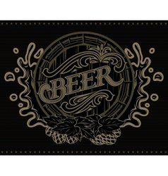 Template with a barrel of beer advertising poster vector