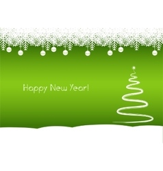 Happy new year tree green background vector