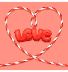 Greeting card with heart from rope Concept can be vector image