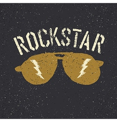 Sunglasses with thunderbolt rockstar tee print vector
