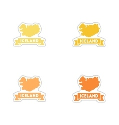 Set of paper stickers on white background iceland vector