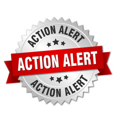 Action alert round isolated silver badge vector