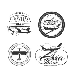 Aviation airplane badges logos emblems vector