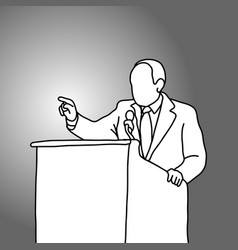 businessman pointing and speaking on podium vector image