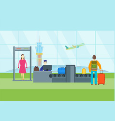 cartoon airport waiting security control vector image vector image