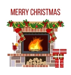 Christmas fireplace and mullled wine xmas vector