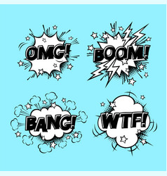 comic speech sound bubbles set with different vector image vector image