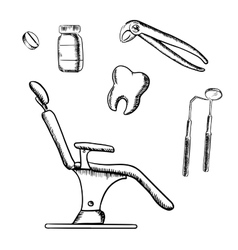 Dental medicine sketch icons and objects vector