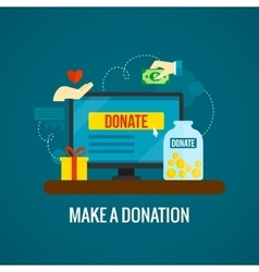 Donations online with laptop icon vector image vector image