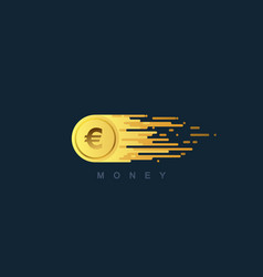 Golden coin with euro sign vector